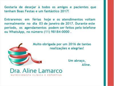 Boas festas! Feliz 2017! Nutricionista alphaville. Aline Lamarco